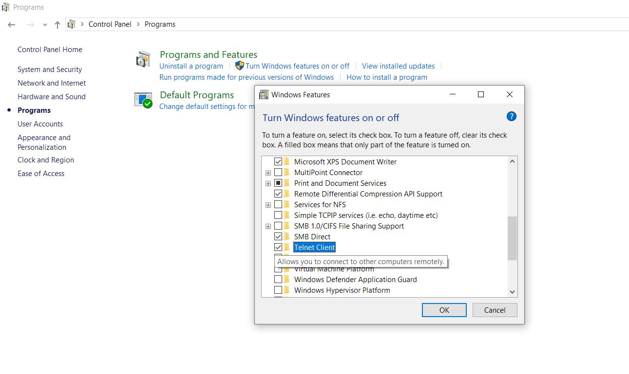 Turn On Telnet client in windows