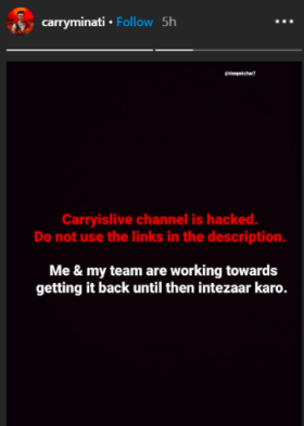 Carry Official Announcement On Instagram For Account Hacked